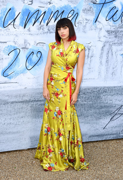 Charli XCX Wrap Dress [clothing,fashion model,yellow,dress,fashion,beauty,lady,fashion design,formal wear,street fashion,charli xcx,england,london,serpentine galleries,chanel,summer party,red carpet arrivals,the serpentine gallery,the summer party]