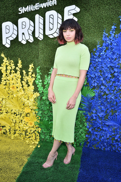 Charli XCX Strappy Sandals [charli xcx,live from the artists den worldpride,clothing,green,dress,spring,grass,pattern,plant,pier 17,new york city]