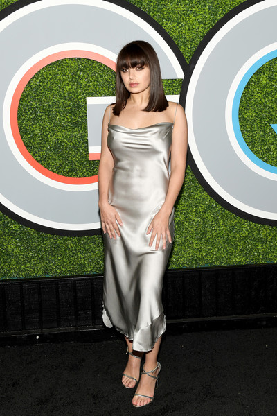 Charli XCX Strappy Sandals [photo,clothing,dress,cocktail dress,grass,shoulder,leg,red carpet,long hair,silver,satin,arrivals,charli xcx,caption,chateau marmont,california,los angeles,gq men of the year party,party,gq men of the year]