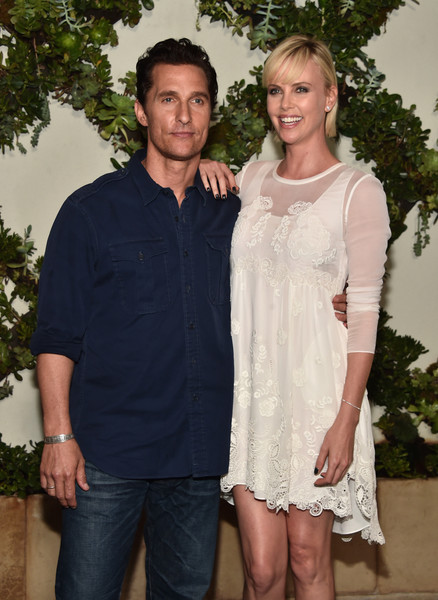 Charlize Theron Shift Dress [kubo and the two strings,fashion,event,dress,smile,formal wear,actors,matthew mcconaughey,charlize theron,call,forcus features,los angeles,beverly hills,focus features,photo call]