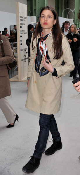 Charlotte Casiraghi Flat Boots [clothing,fashion model,fashion,street fashion,coat,outerwear,trench coat,overcoat,footwear,beige,april 3,saut hermes,event,the grand palais,paris,france,charlotte casiraghi]