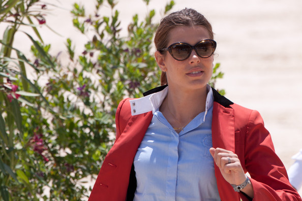 Charlotte Casiraghi Cateye Sunglasses [eyewear,sunglasses,glasses,outerwear,fun,cool,photography,jacket,plant,vision care,charlotte casiraghi,cannes,france,global champion tour,international cannes jumping - global champion tour]