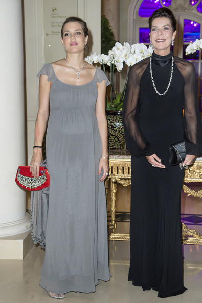 Charlotte Casiraghi Maternity Dress [clothing,dress,fashion,shoulder,haute couture,gown,bridal party dress,formal wear,fashion design,event,caroline of hanover,arrivals,charlotte casiraghi,amade celebrates its 50th anniversary,l-r,hotel hermitage,monte-carlo,monaco,amade mondiale,gala dinner]