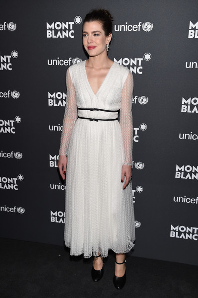 Charlotte Casiraghi Pumps [dress,clothing,fashion model,cocktail dress,shoulder,hairstyle,fashion,neck,a-line,gown,charlotte casiraghi,gala dinner,new york city,new york public library,unicef,montblanc]
