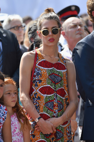 Charlotte Casiraghi Round Sunglasses [prince albert of monaco celebrates 10 years on the throne,first day,eyewear,sunglasses,fashion,glasses,event,street fashion,vision care,dress,fashion accessory,premiere,charlotte casiraghi,monaco,10th anniversary,throne celebrations]