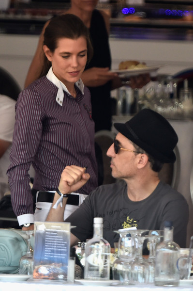 Charlotte Casiraghi Button Down Shirt [water,white-collar worker,bartender,event,drink,liqueur,distilled beverage,gad elmaleh,charlotte casiraghi,monte-carlo jumping,competition,monaco,longines,global champions tour,international monte-carlo jumping]