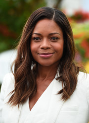 Naomie Harris looked cute with her side-parted waves at the Chelsea Flower Show.