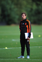 Andre Villas Boas wore an Adidas track jacket and matching pants during this Chelsea training session.