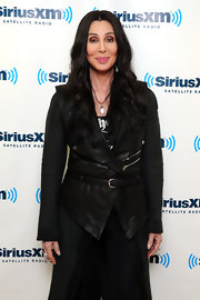 Cher looked edgy in a moto-inspired black leather vest during the Town Hall series at the SiriusXM Studio.