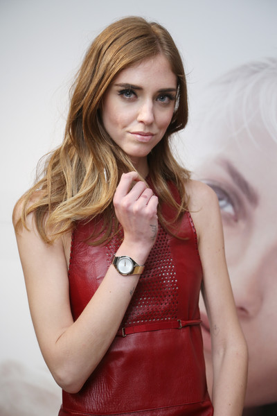 Chiara Ferragni Gold Quartz Watch [hair,blond,red,beauty,model,lip,photo shoot,fashion model,fashion,long hair,watches,calvin klein watches jewelery,calvin klein,chiara ferragni,basel,switzerland,brasilea foundation,host private dinner,dinner]