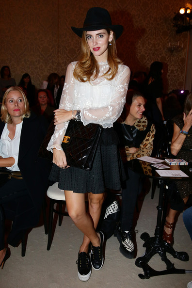 Chiara Ferragni Mini Skirt [clothing,fashion,fashion model,fashion show,leg,runway,fashion design,street fashion,tights,footwear,fay,chiara ferragni,milan fashion week womenswear spring,fay - front row,part,milan,italy,show]