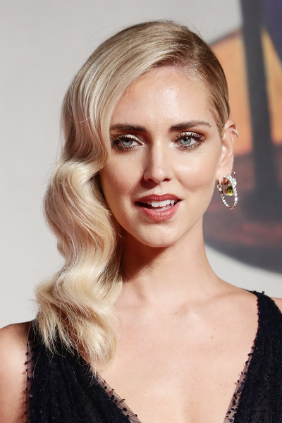 Chiara Ferragni Medium Wavy Cut [hair,face,blond,hairstyle,eyebrow,lip,chin,beauty,long hair,skin,chiara ferragni,unposted,screening,red carpet arrivals - the 76th venice film festival,venice film festival at sala giardino,venice,italy]