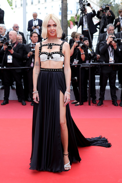 Chiara Ferragni Crop Top [red carpet,carpet,clothing,dress,premiere,flooring,gown,fashion,event,fashion model,chiara ferragni,once upon a time in hollywood,screening,cannes,france,red carpet,the 72nd annual cannes film festival,cannes film festival]