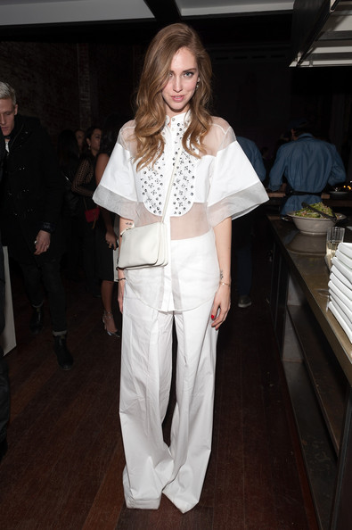 Chiara Ferragni Sheer Top [white,clothing,fashion,fashion model,pantsuit,fashion show,outerwear,haute couture,fashion design,suit,chiara ferragni,relaunch party,relaunch,new york city]