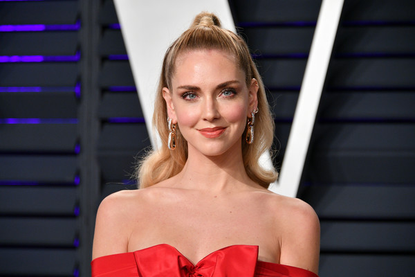 Chiara Ferragni Half Up Half Down [oscar party,vanity fair,hair,blond,hairstyle,fashion model,beauty,eyebrow,shoulder,fashion,lip,long hair,beverly hills,california,wallis annenberg center for the performing arts,radhika jones - arrivals,radhika jones,chiara ferragni]