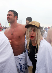 Lady Gaga accessorized with a trucker hat when she joined the Chicago Polar Plunge.