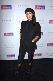 Rosario Dawson completed her all-black look with a pair of ankle boots.