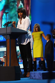 Michelle wore a white button-down with a unique bustle and chartreuse belt for the Kid's Inaugural Concert.