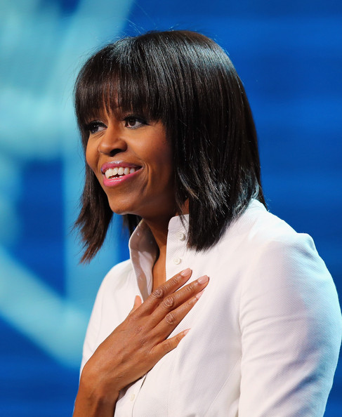 More Pics of Michelle Obama Medium Straight Cut with Bangs (1 of 15) - Shoulder Length Hairstyles Lookbook - StyleBistro