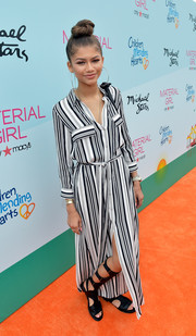 Zendaya Coleman kept it relaxed yet stylish in a L'Agence striped maxi shirtdress during the Children Mending Hearts fundraiser.