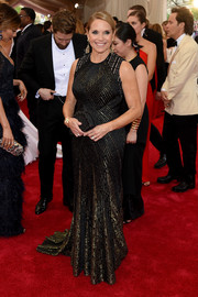 Katie Couric looked regal in her shimmery mixed-pattern gown at the Met Gala.