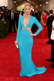 Elizabeth Banks brought some sizzle to the Met Gala red carpet with this sky-blue Michael Kors gown boasting a plunging neckline and side cutouts.