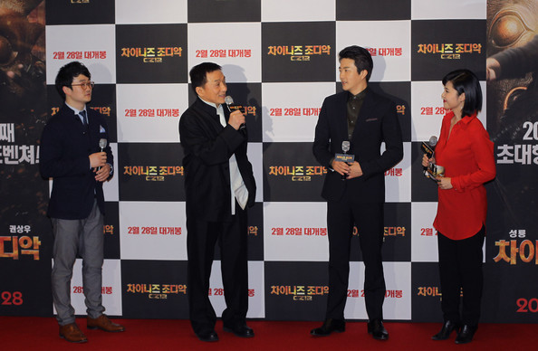 More Pics of Jackie Chan Men's Suit (1 of 28) - Jackie Chan Lookbook - StyleBistro [chinese zodiac,seoul premiere,film,red carpet,carpet,premiere,event,flooring,jackie chan,kwon sang-woo,south korea,seoul,lotte cinema,chinese zodiac seoul premiere]