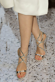 Pace Wu Pei Ci opted for feminine heels at the Chloe runway show in Paris.