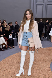 Kristina Bazan paired a denim mini skirt with a Peter Pan-collar blouse for the Chloe fashion show.