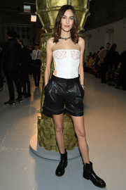 Alexa Chung toughened up her sexy top with a pair of black leather shorts, also by Chloe.