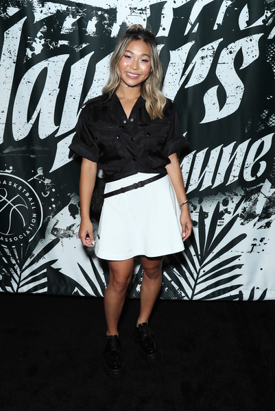 Chloe Kim Loose Blouse [clothing,black-and-white,fashion,dress,monochrome photography,fashion model,footwear,photography,street fashion,little black dress,players,chloe kim,voice awards,california,los angeles,the dream hotel,the players tribune,nbpa,players night out]