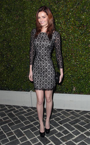 Lydia Hearst Shaw looked super svelte in a figure-hugging lace-overlay dress during the Chloe LA fashion show and dinner.