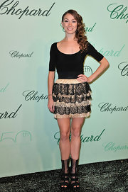 Eleonora Abbagnato attended the 150th anniversary of Chopard wearing a lovely pair of gladiator heels.