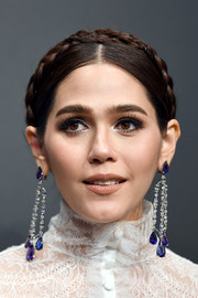 Araya Hargate added major glamour with a pair of gemstone chandelier earrings by Chopard.