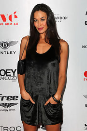 Megan Gale's velvet LBD at the Chris Judd launch party had a sporty-stylish feel.