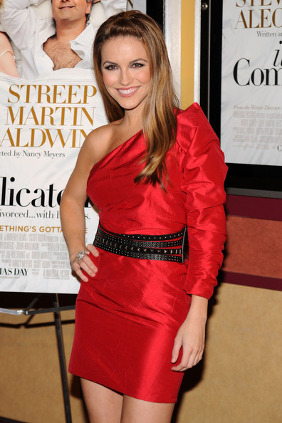 Chrishell Stause Studded Belt [its complicated,clothing,red,dress,cocktail dress,shoulder,fashion,premiere,leg,fashion model,long hair,arrivals,chrishell stause,screening,new york city,chelsea clearview cinema,screening]