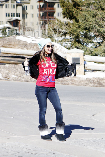 Chrishell Stause Snow Boots [white,jeans,photograph,clothing,street fashion,beauty,pink,footwear,fashion,lip,chrishell stause,the rodosky family,utah,park city,operation smile,celebrity ski smile challenge]