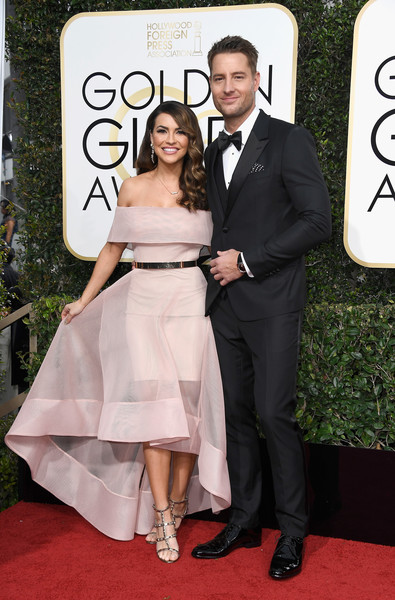 Chrishell Stause Off-the-Shoulder Dress [dress,clothing,carpet,formal wear,red carpet,gown,fashion,flooring,suit,event,arrivals,justin hartley,chrishell stause,r,beverly hills,california,the beverly hilton hotel,golden globe awards]