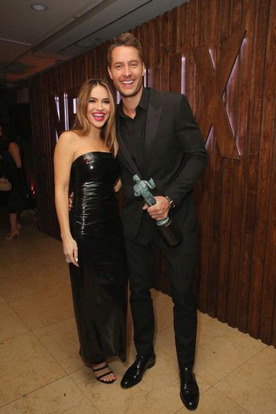 Chrishell Stause Strapless Dress [netflix hosts the sag after party,formal wear,little black dress,dress,fashion,event,suit,tuxedo,haute couture,fashion design,smile,sunset tower hotel,west hollywood,california,chrishell stause,justin hartley]