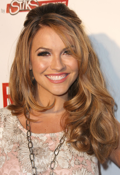 Chrishell Stause Half Up Half Down [hair,hairstyle,face,blond,eyebrow,hair coloring,brown hair,long hair,chin,layered hair,rush games party,avalon hollywood,california,chrishell stause]