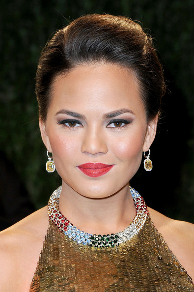 Chrissy Teigen Dangling Gemstone Earrings