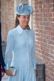 Pippa Middleton wore a pastel-blue hat to match her shirtdress for Prince Louis' christening.