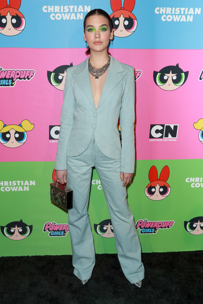 Amanda Steele went for a menswear-chic vibe in a pastel-blue pantsuit at the Christian Cowan x The Powerpuff Girls show.