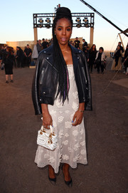For her arm candy, Kelly Rowland chose a patterned Lady Dior purse.