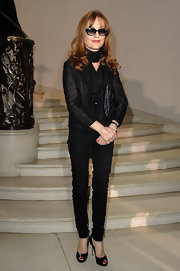 Isabelle Huppert was classic in black from her scarf to her patent leather peep-toes.