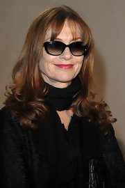 Isabelle Huppert went for a vintage feel at the Christian Dior fashion show with a pair of cateye sunnies.