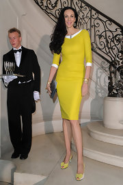 L'Wren Scott was channeling the 1960s in this canary yellow day dress. It was a bright breath of fresh air!