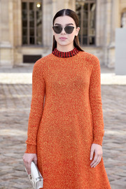 Hailee Steinfeld was like a walking Dior ad when she sported these sunnies, dress, and clutch, all from the French fashion house, during Paris Fashion Week.