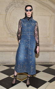 Erin O'Connor sported a chic mix of denim and lace at the Christian Dior fashion show.