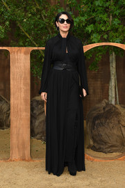 Monica Bellucci kept it simple yet elegant in a long-sleeve black maxi dress by Dior during the brand's Spring 2020 show.